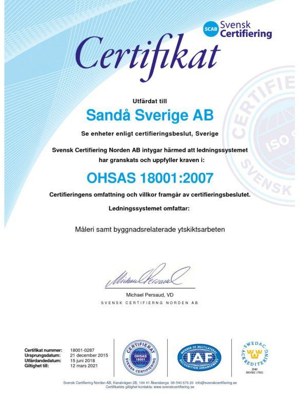 Arbetsmiljöcertifikat OHSAS 18001